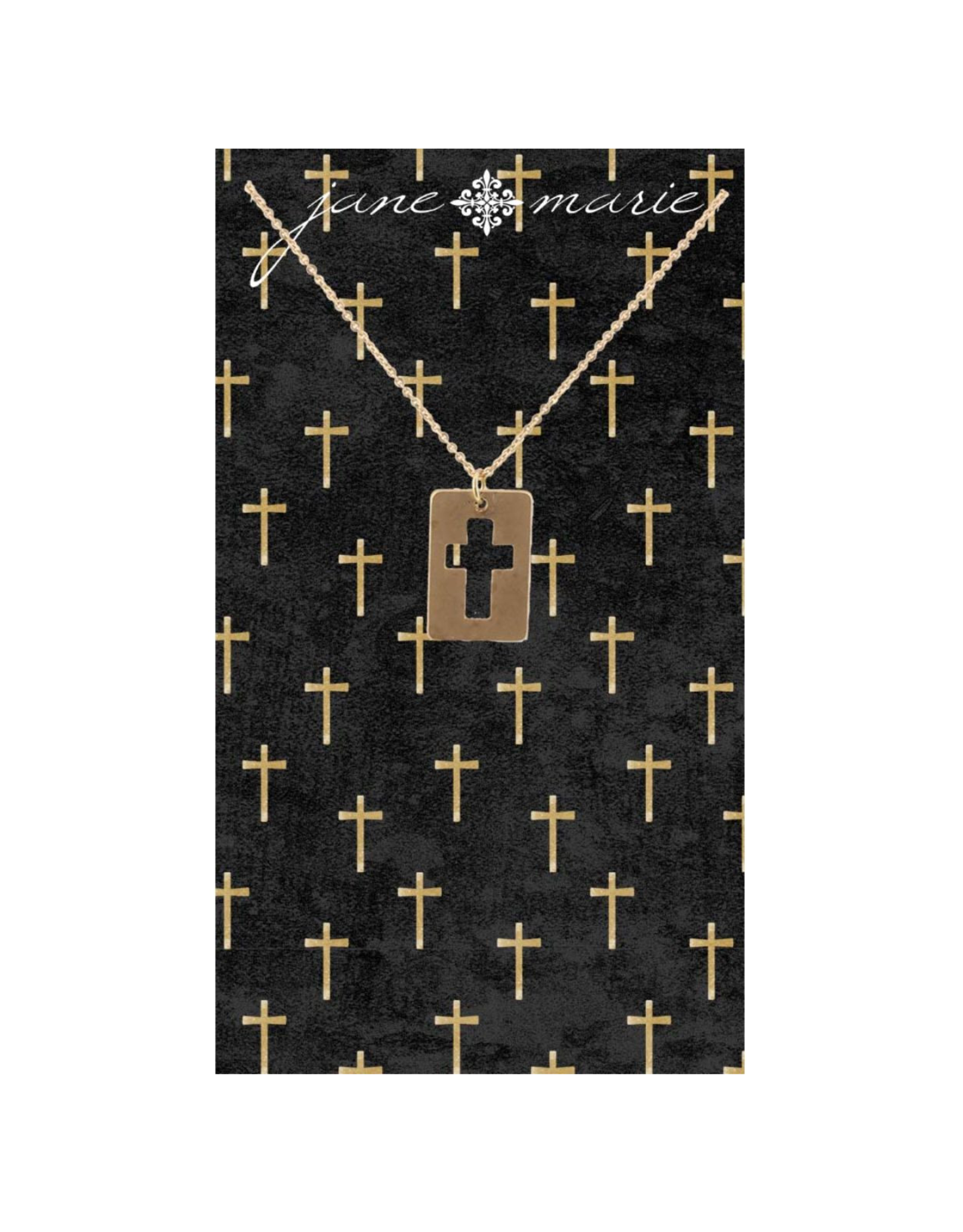 "16"" Gold Cutout Cross Necklace"