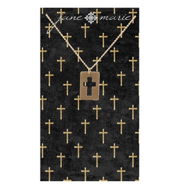 "16"" Gold Cutout Cross Necklace"