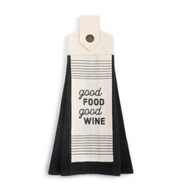 Good Food Good Wine Button Loop Towel