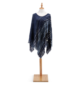 Textured Poncho - Navy