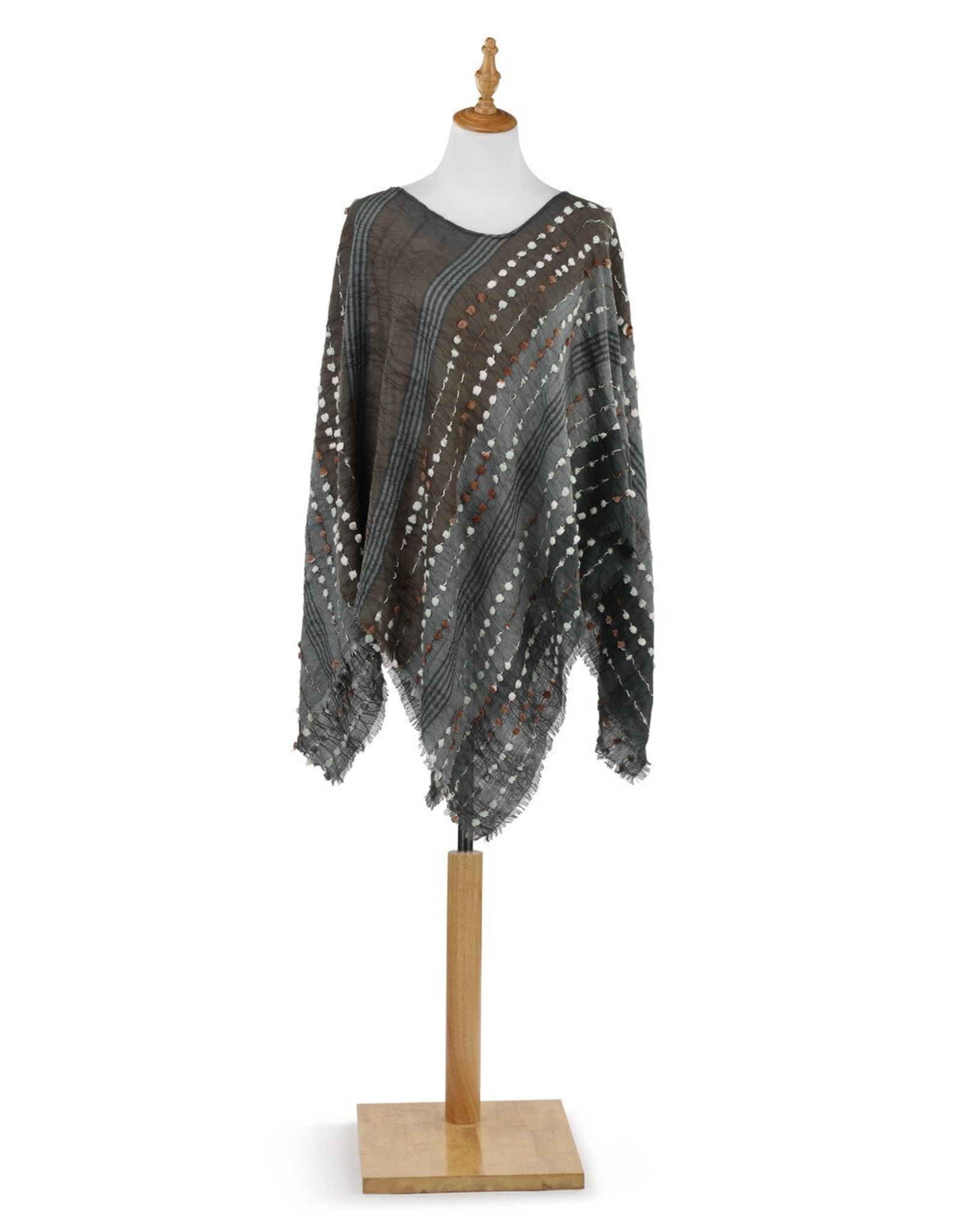 Textured Poncho - Gray Mix