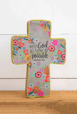 With God All Things Wooden Cross
