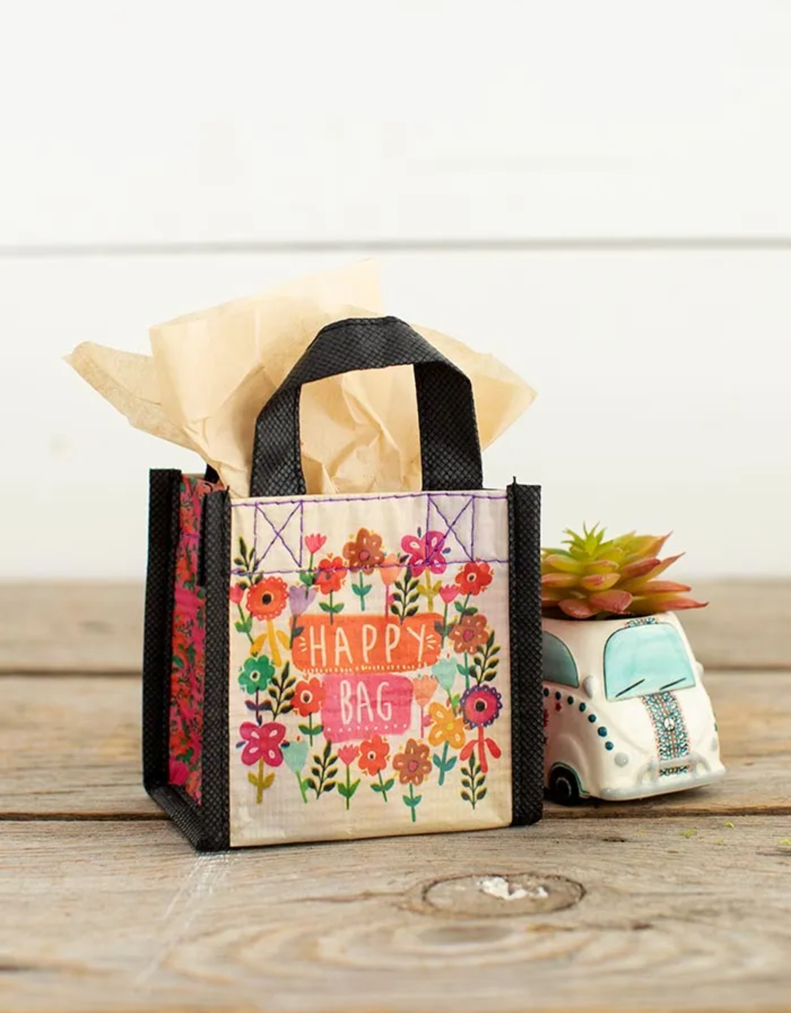 XS Watercolor Flowers Happy Bag