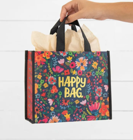 Med Teal Gold Floral Happy Bag