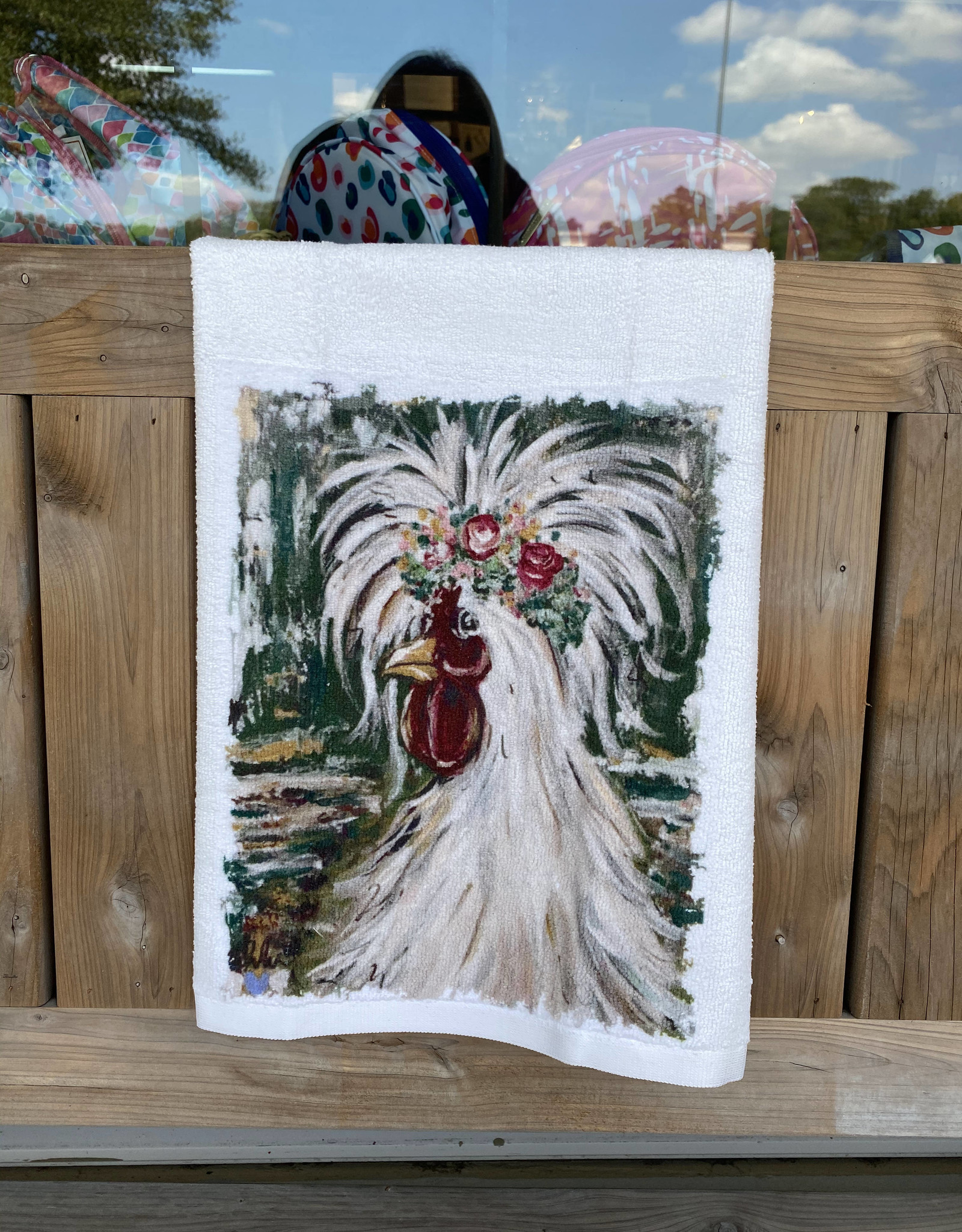 Chicken Flower Crown Microfiber Towel