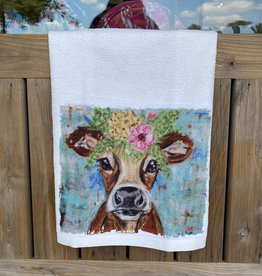 Pink/Yellow Floral Cow Microfiber Towel