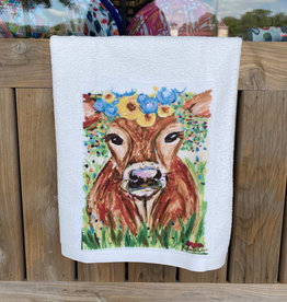 Yellow/Blue Floral Cow Microfiber Towel