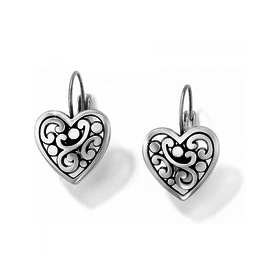 Brighton Contempo Heart Leverback Earrings - Silver