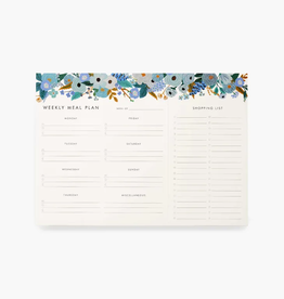 Meal Planner Notepad - Blue Garden Party