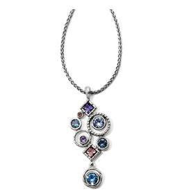 Brighton Halo Aurora Drop Necklace - Silver&Tanzanite