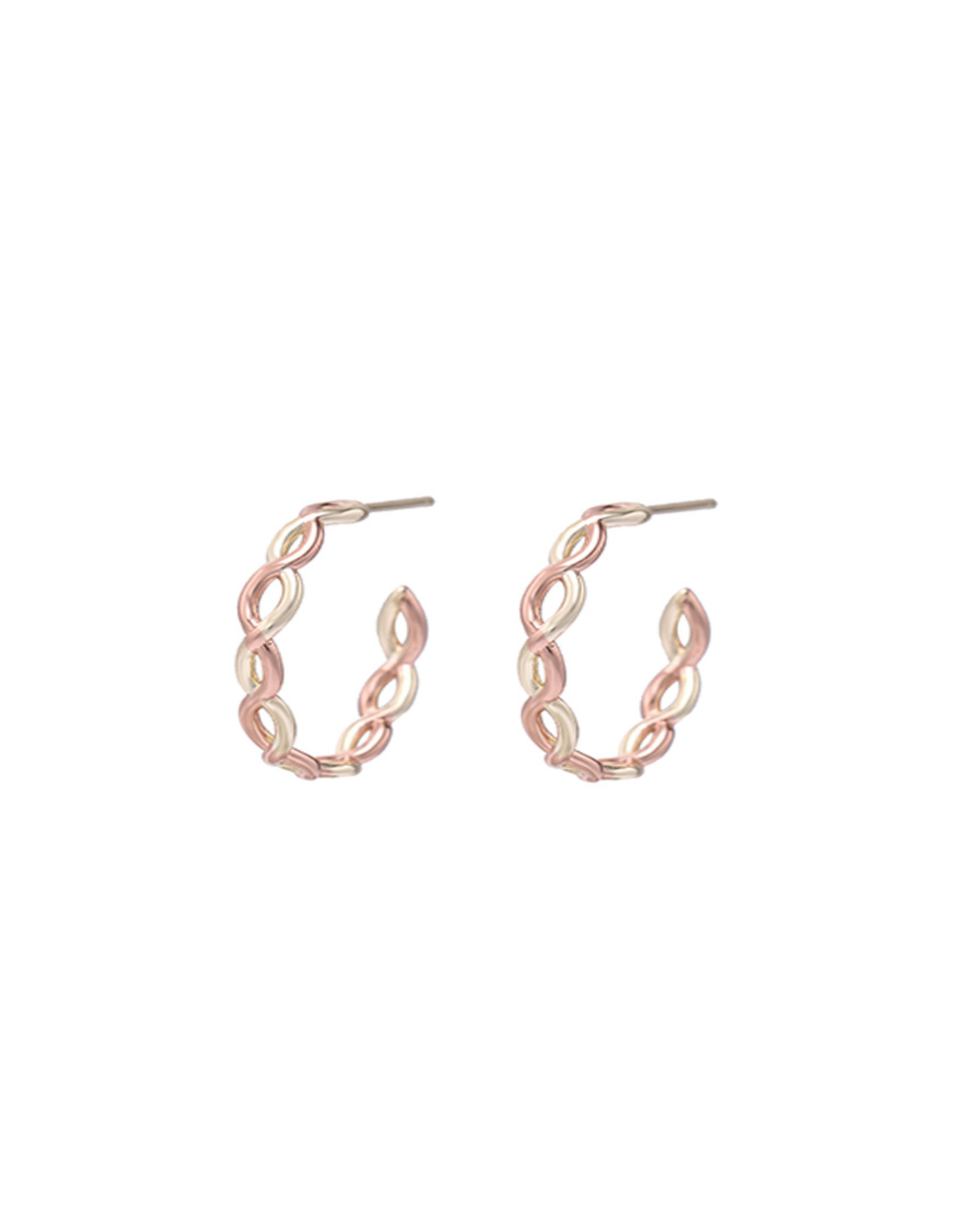 Natalie Wood Designs Bloom Mini Hoop Earrings - Gold & Rose Gold