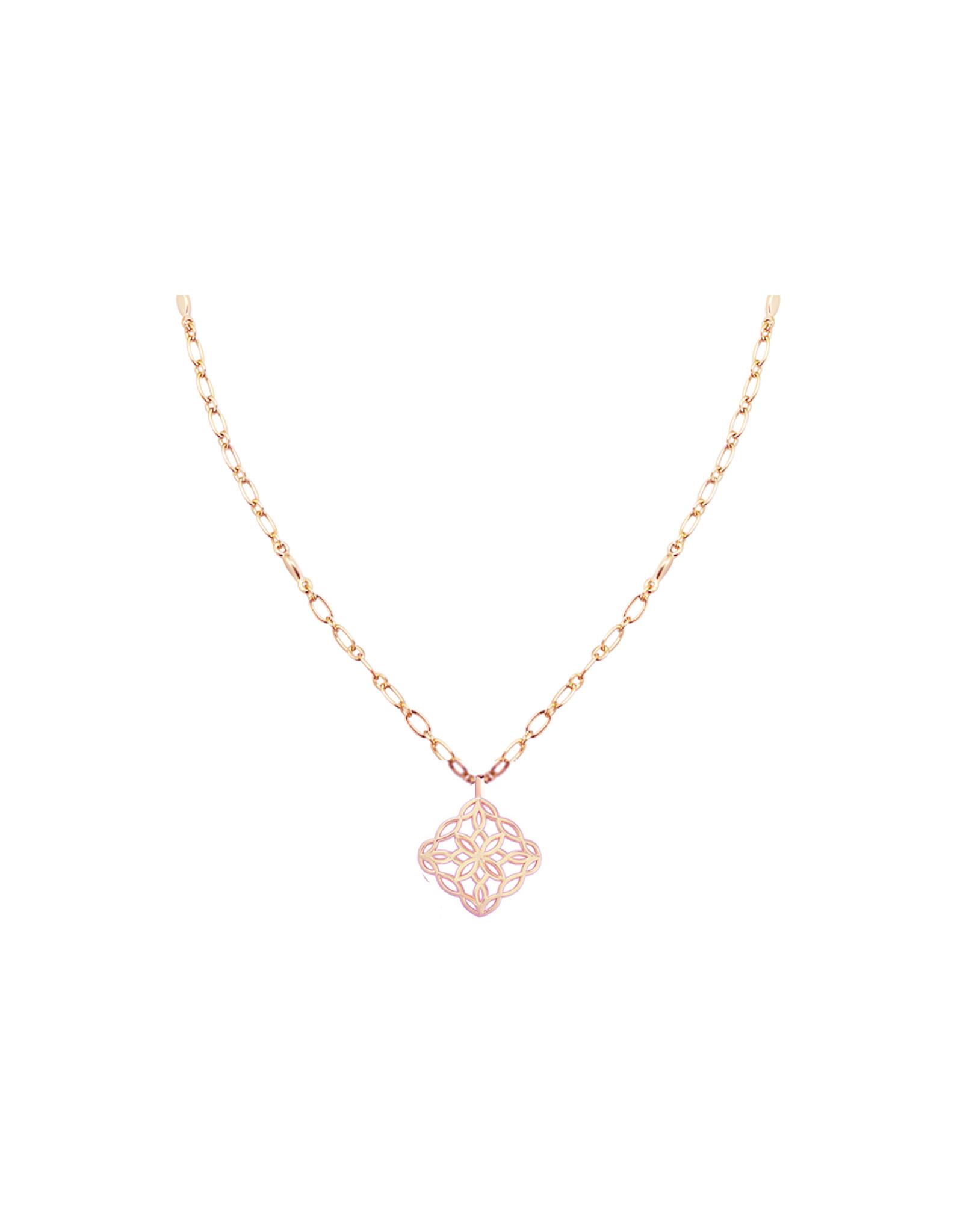 Natalie Wood Designs Bloom Drop Necklace - Rose Gold