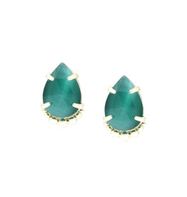 Natalie Wood Designs Teardrop Stud Earrings - Emerald Cat's Eye