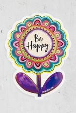 Be Happy Flower Vinyl Sticker