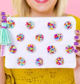 Multi Colored Pom Pom Pouch