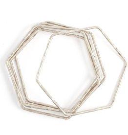 Splendid Iris S/5 Hexagon Hammered Bangles - Silver