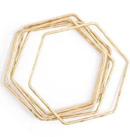 Splendid Iris S/5 Hexagon Hammered Bangles - Gold