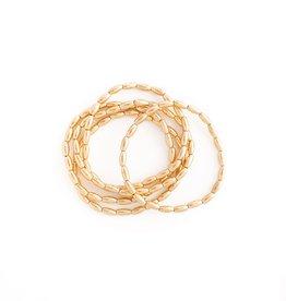 Splendid Iris S/5 Oblong Bead Stretch Bracelet - Gold