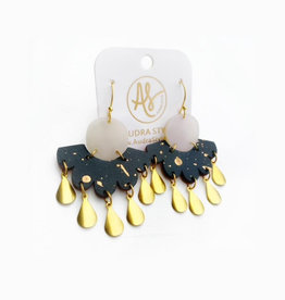 Audra Style Ruth Earrings - Pearl Black Gold
