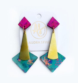 Audra Style Florence Earrings - Magenta Teal Sweetgrass