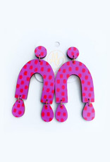 Audra Style Chrissy Earrings - Pink Red Dot