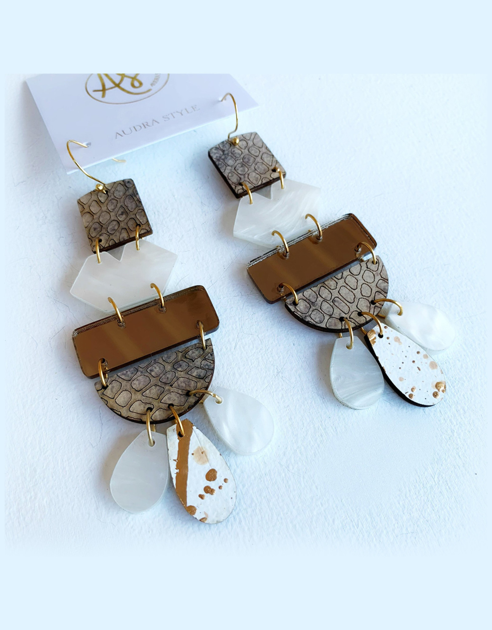 Audra Style Belle Earrings - Pearl Taupe Snake