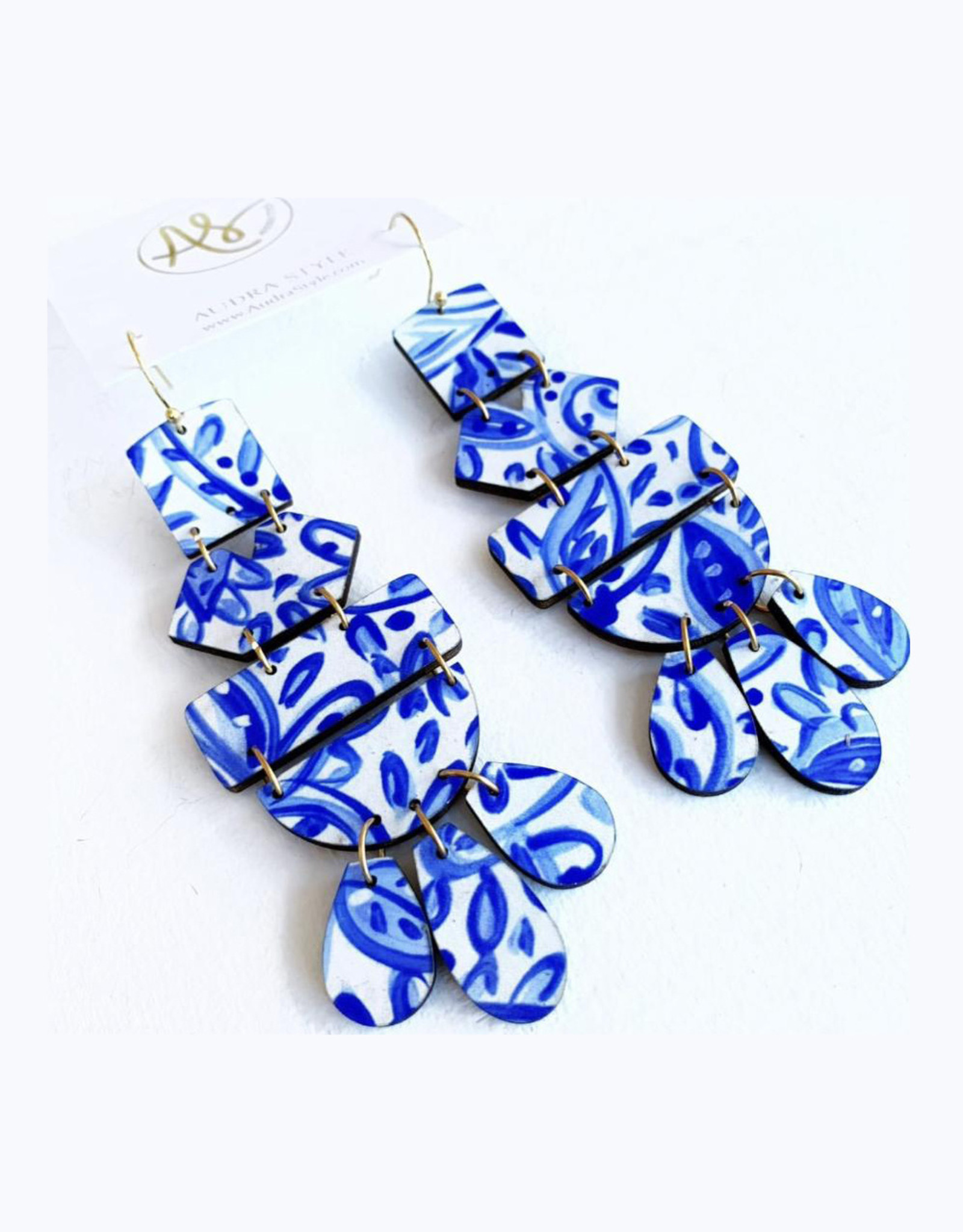 Audra Style Belle Earrings - Blue White