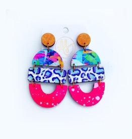 Audra Style Bela Earrings - Autumn w/ Cheetah Party Blue