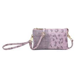 Jen & Co Riley Crossbody/Wristlet - Leopard Grey Pink