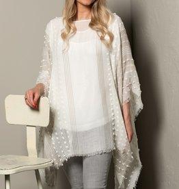 Textured Poncho - White/Light Grey