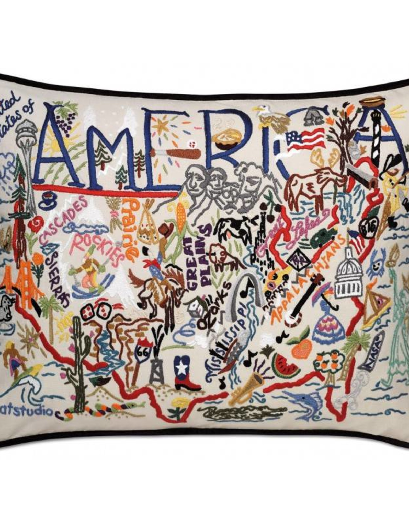 Hand Embroidered America Pillow