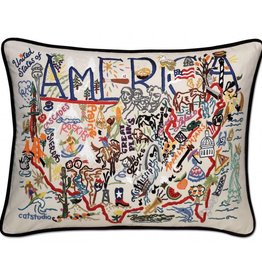 cat studio Hand Embroidered America Pillow