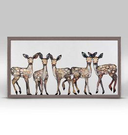 5 Dancing Fawns Framed Canvas