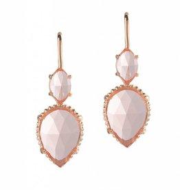 Natalie Wood Designs Double Teardrop Earrings - Peach Glass