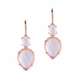 Natalie Wood Designs Double Teardrop Earrings - Rainbow Moonstone