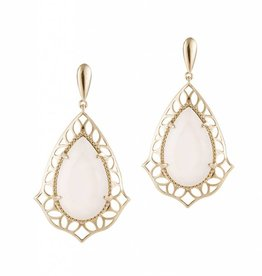 Natalie Wood Designs Showstopper Drop Earrings - Gold River Pearl