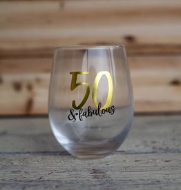 Mudpie 50 Fabulous Wine Glass