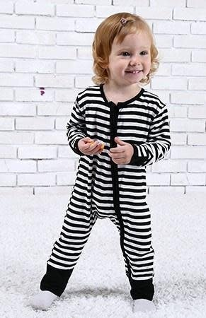 Bamboo 2 way Zippy Coverall  Black Stripe 12-18 months