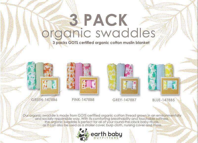 0051c4658450f Organic Cotton Muslin Swaddle Blankets 3pc Set - Earth Baby ...