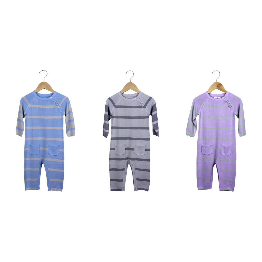 Knit Bamboo Stripe Rompers