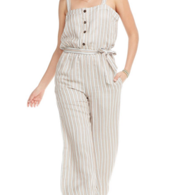 chaser Linen Wide Leg Button Front Jumpsuit