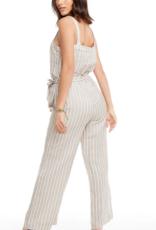 chaser Linen Wide Leg Button Front Jumpsuit