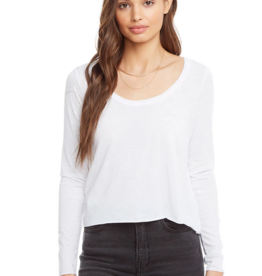 chaser Vintage Jersey Scoop Neck Crop Tee