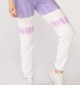 Monrow Elastic Waist Sweats w/ Stripe Tie Dye