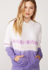 Monrow Relaxed Pullover w/ Stripe Tie Dye