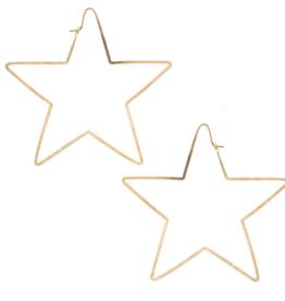 Kris Nations Star Hammered Hoop Earrings