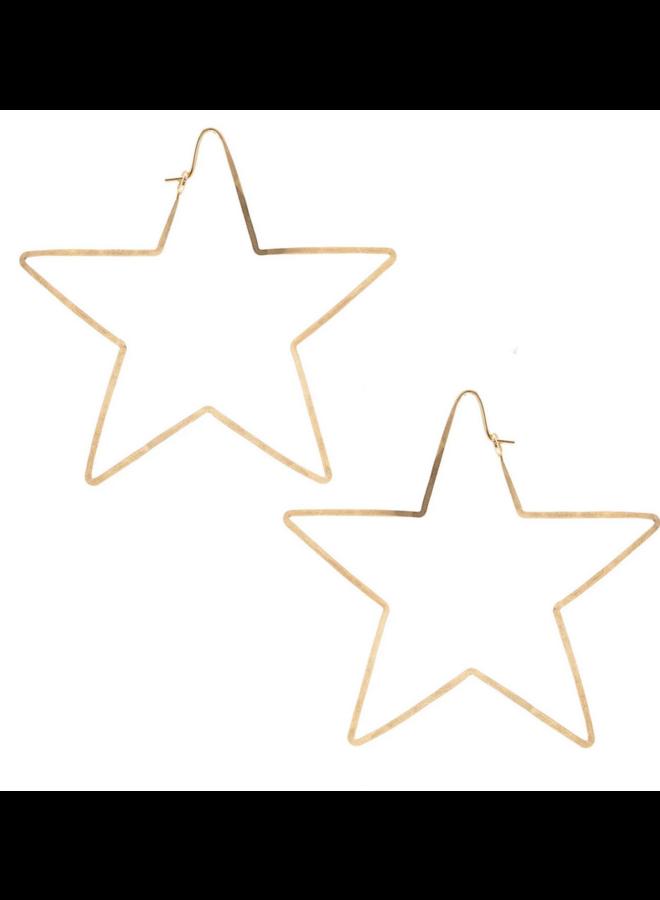 Star Hammered Hoop Earrings