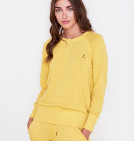 Sundry Happy Face Embroidered Sweatshirt