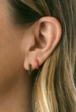 Kris Nations Enamel Huggie Hoop Earrings