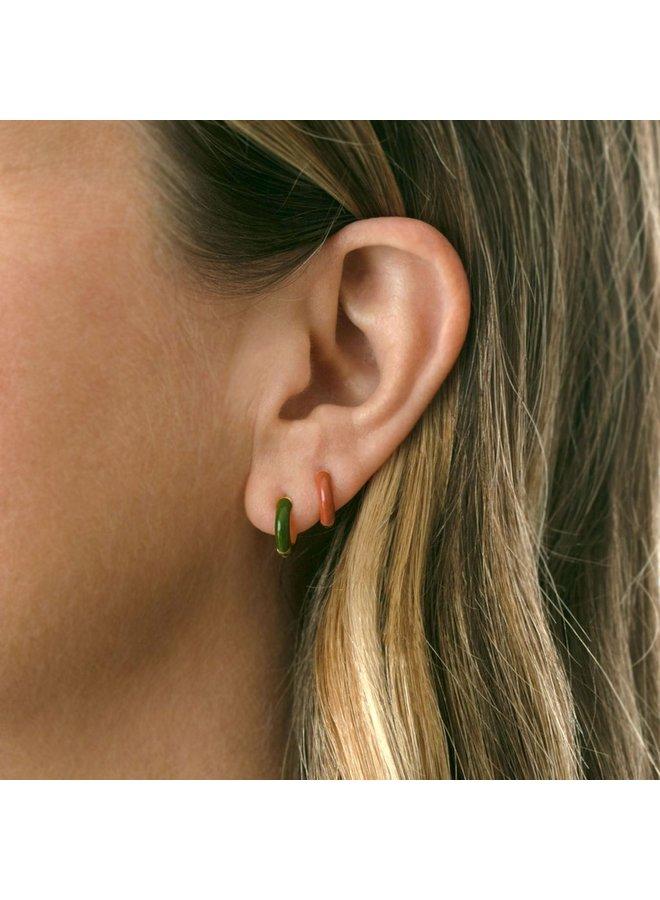 Enamel Huggie Hoop Earrings